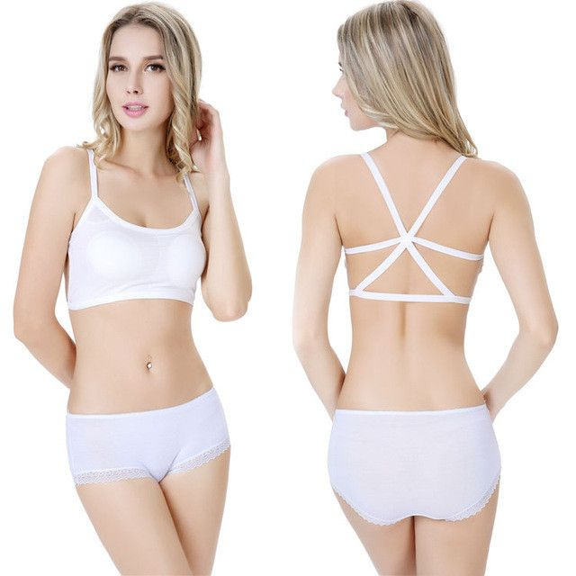 2016 High Quality Sexy Women Cut Out Cross Bandage Cage Back Backless Crop Cami Top Bralette Bra Bustier Summer Womens Tops