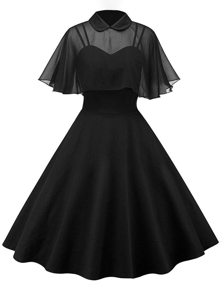 Nouveau produit : Black dress with transparent bolero veil and collar elegant vintage retro chic Vous aimez ? / New product do you like ?  Prix: 44.90 #new #nouveau #japanattitude #robes #gothique #gothic #pinup #chic #black #dress #bolero #transparent #veil #collar #stylish #vintage #retro #goth