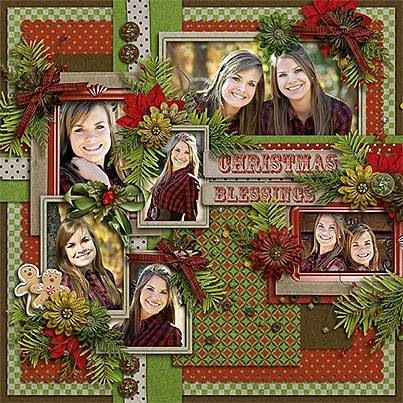 Christmas scrapbook page. Colorful, but the mix of small print papers doesn't take the focus away from the photos!