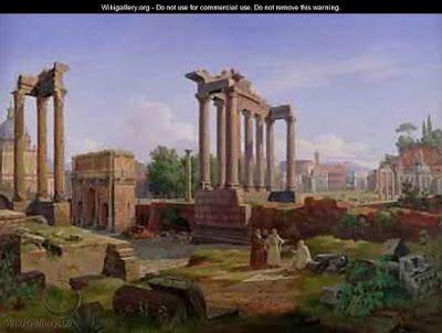Rom (Forum Romanum) som det torde sett ut när Rydberg besökte det 1874, skildrat av Gustaf Wilhelm Palm.