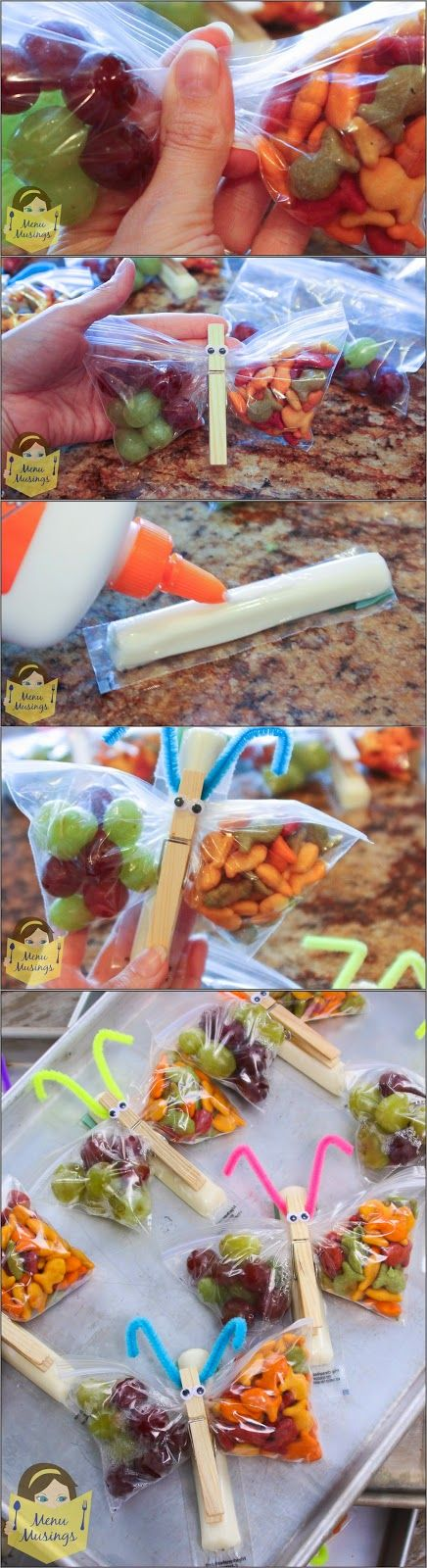 trainer inn restaurant lehighton pa Butterfly Snack Bags   an easy  healthy  and fun classroom snack for your kids  Step by step photos  You are limited only in your imagination  but this one is a balanced snack of cheese  crackers  and fruit