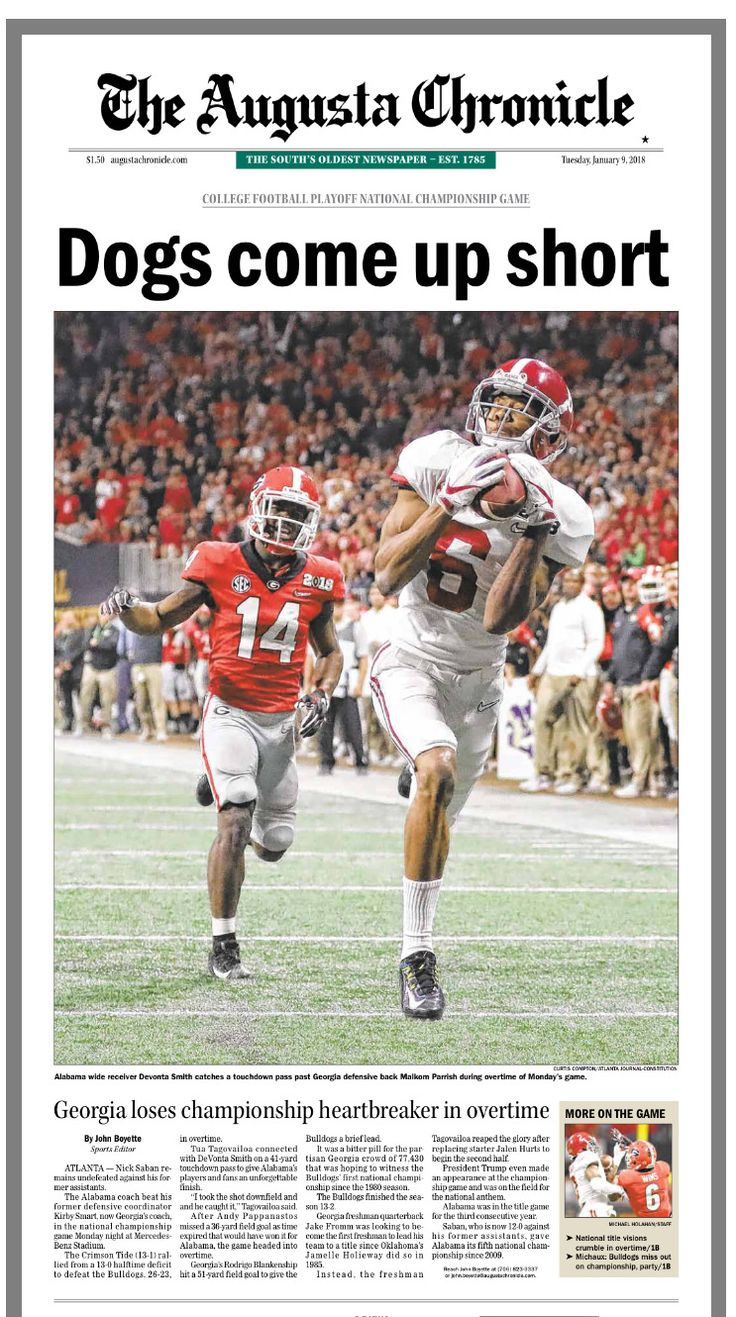Front page of The Augusta Chronicle, following Bama's 26-23 OT win in the College Football Playoff National Championship at Mercedes-Benz Stadium in Atlanta, 2018 National Champions! #Alabama #RollTide #Bama #BuiltByBama #RTR #CrimsonTide #RammerJammer #CFBPlayoff #NationalChampionship #CFBNationalChampionship2018