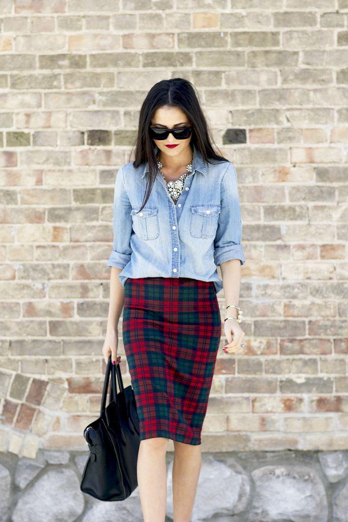 17 Best ideas about Plaid Pencil Skirt on Pinterest | Long skirt ...