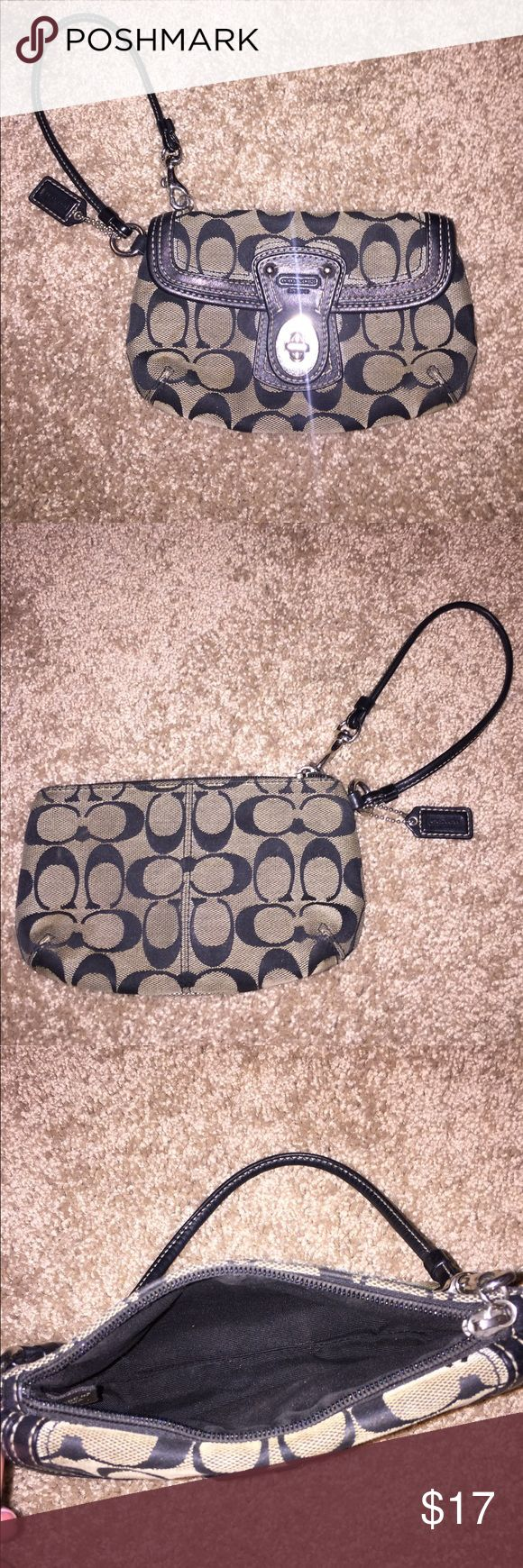 Black Coach Wristlet- going out is fun again! This classic black Coach wristlet just made your Saturday night more convenient! This clutch fits your ID, credit card, cash, lipstick, tampon, and iPhone easily. Everything you need for a night on the town will fit in this perfect wristlet! The zippered large pocket stores the essentials while the front clasped pocket is perfect for carrying around the waiter's number you scored on the ticket at Cheesecake Factory. While this wristlet has been…