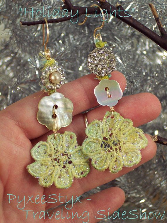 Holiday Lights retro glam earrings  vintage rhinestone and mother of pearl buttons with hand dyed lace by PyxeeStyx on Etsy,