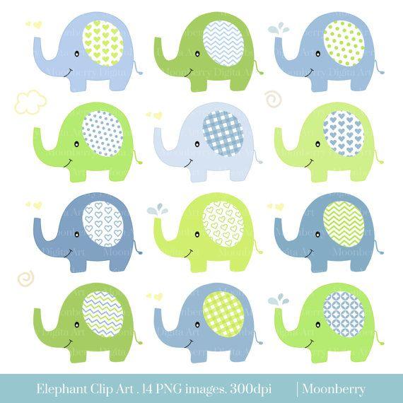 Elephant Clip Art Baby Shower Clipart Nursery Clipart
