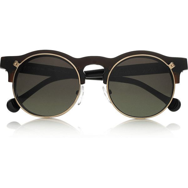 Carven Anastasie flip-up round-frame acetate sunglasses via Polyvore