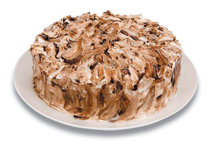 Expresso dos Sabores   Torta Mesclada - Pão de ló branco e de chocolate, recheados com brigadeiro e baba de moça, cobertos com marshmallow e calda de chocolate.