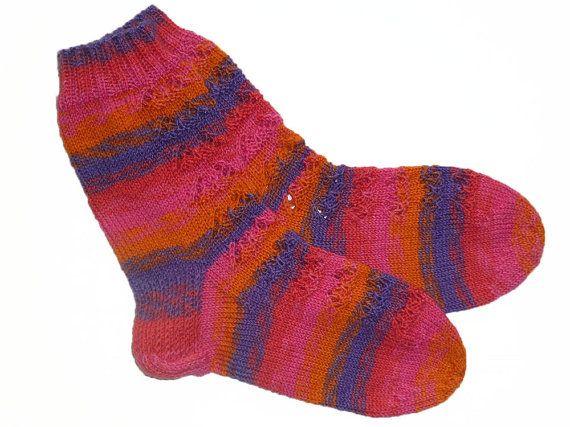 Hand knit Women Wool Socks Lace Socks Warm Leg by handicraftland
