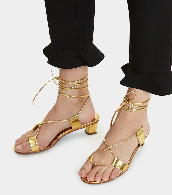 Martiniano Pavone Wrap Sandal in Gold #SandalsHeels | Lace