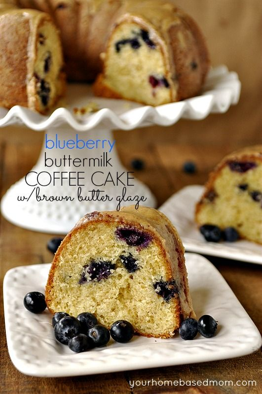 A delicious buttermilk blueberry coffee cake topped with a heavenly glaze made with browned butter.