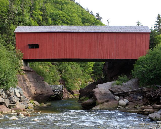 Covered bridge in Fundy National Park. It was built in 1992, and is a replica of it's predecessor which was built in 1910.