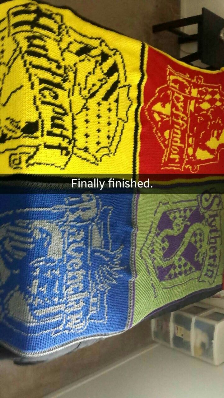 M16s and Nicotine harry potter hogwarts crest blanket made using Tunisian crochet. I am dying of jealousy