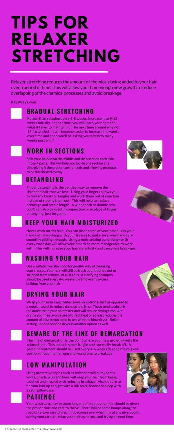 Relaxer Stretching | Learn some tips for how to manage your new growth on your Relaxed Hair while retaining length