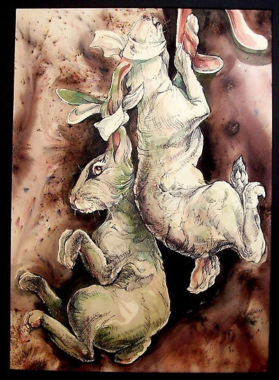 Hanging by a Hare, by Ralph Slatton -- inkwash, watercolor, coffee stains