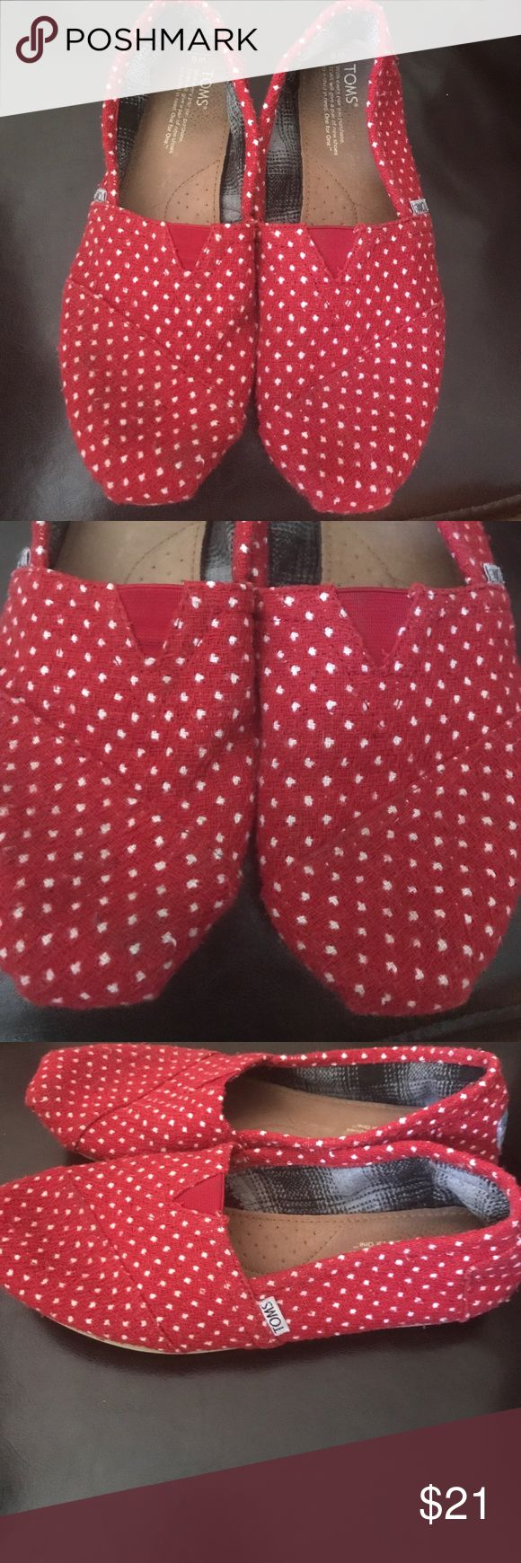 TOMS Red and White Polka Dot Shoes, 9 Very good condition, freshly washed Toms Shoes Espadrilles