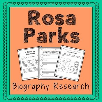 Rosa Parks Biography Research Project. No Prep and Stress-Free. Available in Interactive Notebook format, too.