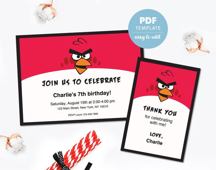 Birthday invitation & Thank you card. Birthday PDF template. Party invitation set for boys / girls. Editable PDF template. Instant download. by PenguinGraphics on Etsy