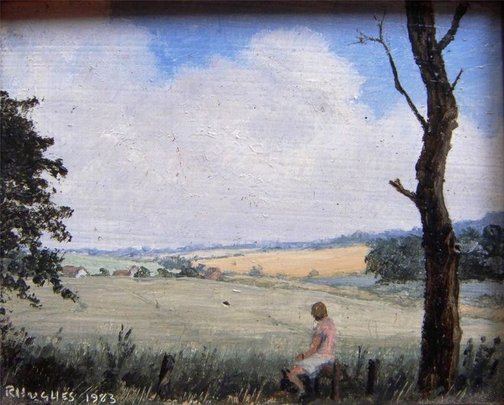 Robert Hughes Miniature Landscape Near Great Bedwyn Signed