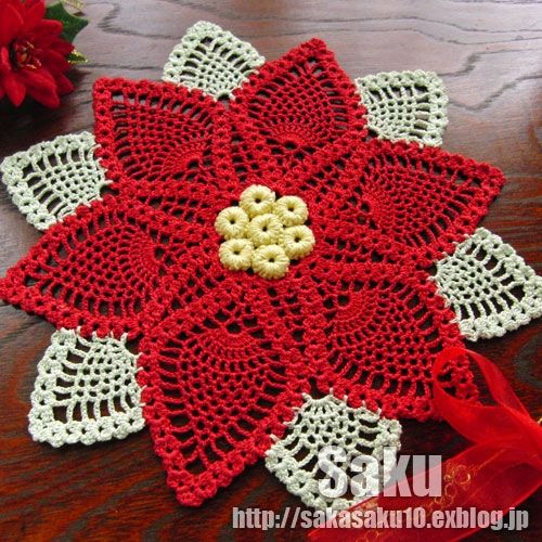 ポインセチアのドイリーの作り方|編み物|編み物・手芸・ソーイング | アトリエ|手芸レシピ16,000件!みんなで作る手芸やハンドメイド作品、雑貨の作り方ポータル