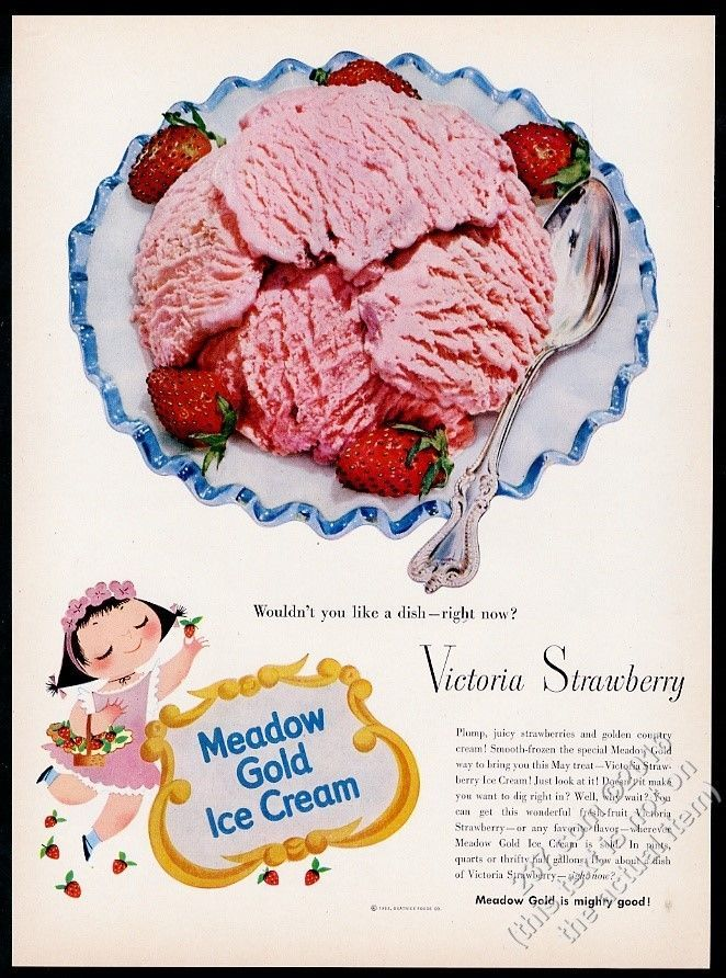1953 mary blair smiling girl art meadow gold ice cream vintage print ad