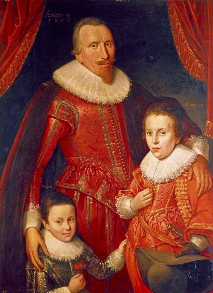 """Portrait of George Seton, 8th. Lord Seton, 3rd. Earl of Winton and Peer of Scotland, President of the Privy Council of Scotland (1584-1650), with his two sons, Lord George Seton, 9th. Lord Seton and Peer of Scotland (1613-1648) and Sir Alexander Seton, 1st. Viscount Kingston and Peer of Scotland (1620-1691)"" by Adam de Colone (1625)"