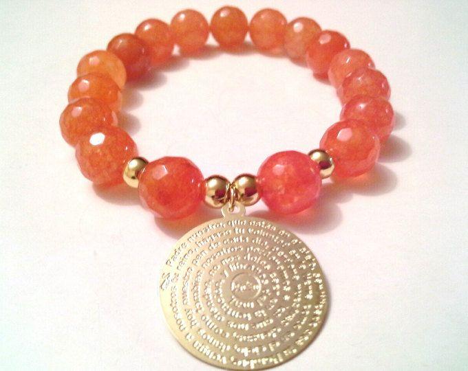 Padre Nuestro Fire Agate stretch bracelet, gold filled padre nuestro bracelet,gemstone bracelet, semiprecious stones bracelet