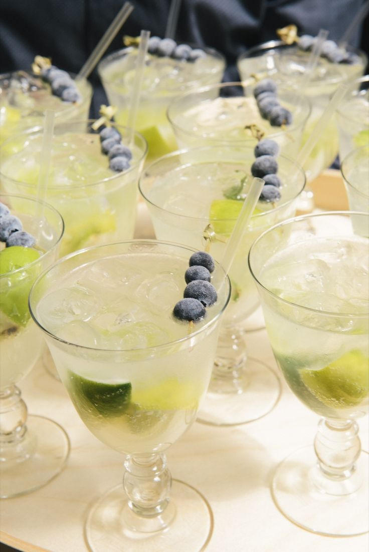 Welcome drinks! Cointreau Fizz with frozen blueberry skewers.