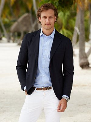 Men l fashion styling in a navy jacket light blue button for White shirt brown buttons