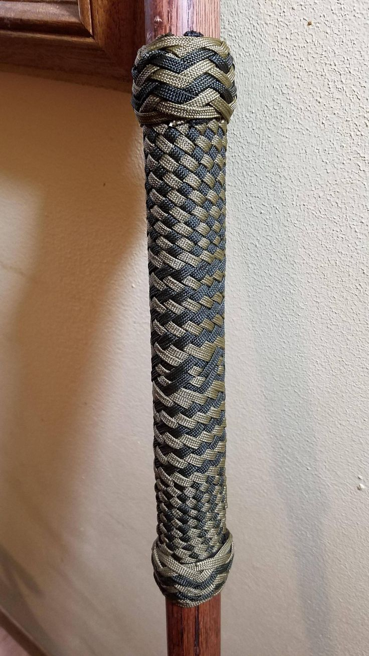Hiking staff handle. 24 strand weave, 6x7 pineapple knots.