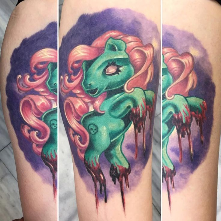 my zomby little pony :D color tattoo by SKERYONE