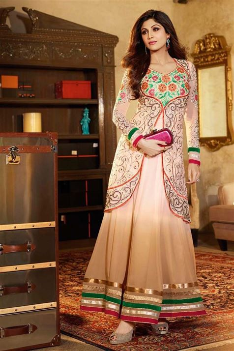 Mesmerizing Shilpa Shetty Georgette Ivory Floor Touch Anarkali Suit