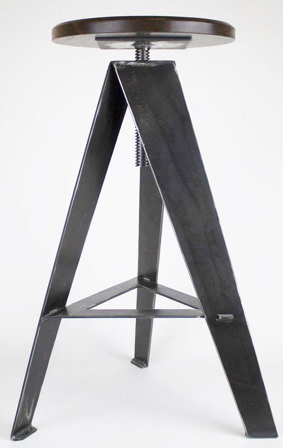 Custom steel and walnut stools made in Sandpoint - MakerPointStudios