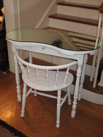 Vintage Kidney Shaped Vanity Dressing Table Desk With