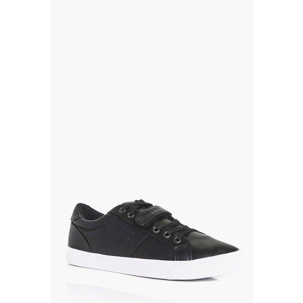 Boohoo Lace Up Trainers With Velcro Strap (1,335 INR) ❤ liked on Polyvore featuring men's fashion, men's shoes, men's sneakers, mens velcro strap shoes, mens velcro shoes, mens velcro strap sneakers, mens lace up shoes and mens velcro sneakers