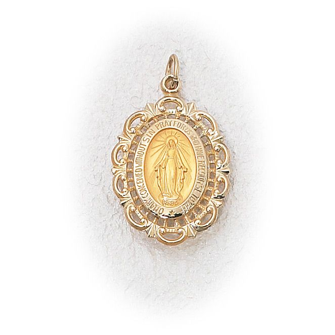 14K Real White Gold Oval Virgin Mary Miraculous Medal Pendant Charm 17mm Long