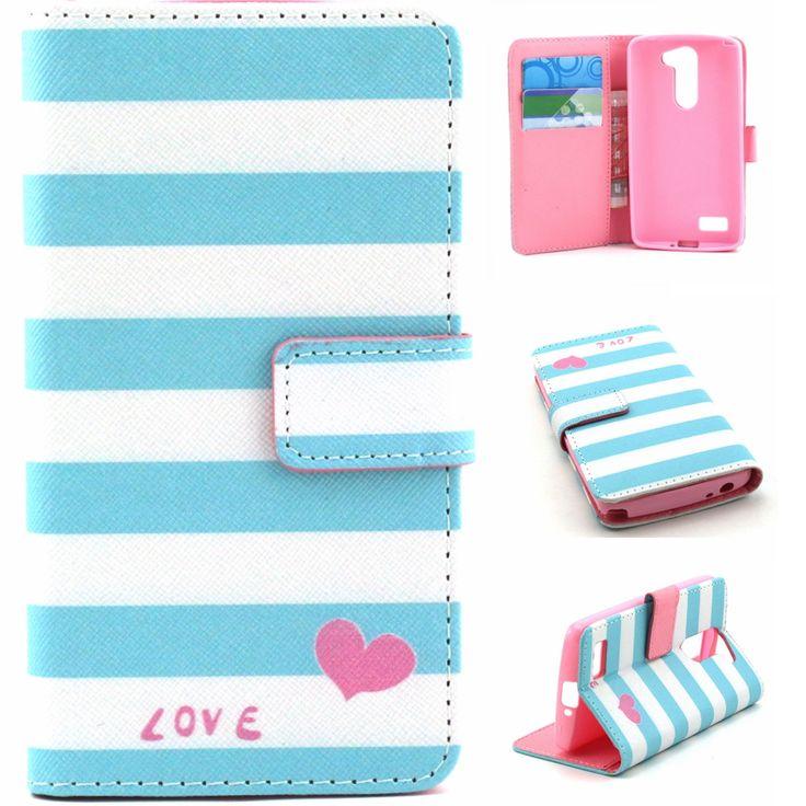 Синие полосы в форме сердца любовь дизайн искусственная кожа флип стенд кошелек крышка чехол для LG L белло D331 D335 D337 новый
