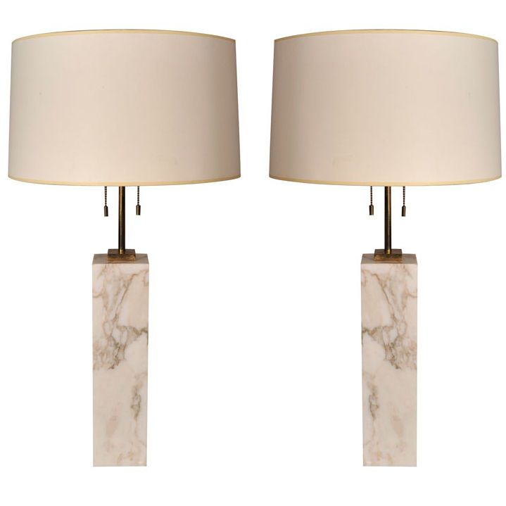 Pair of Square Marble Table Lamps by T.H. Robsjohn-Gibbings | From a unique collection of antique and modern table lamps at https://www.1stdibs.com/furniture/lighting/table-lamps/