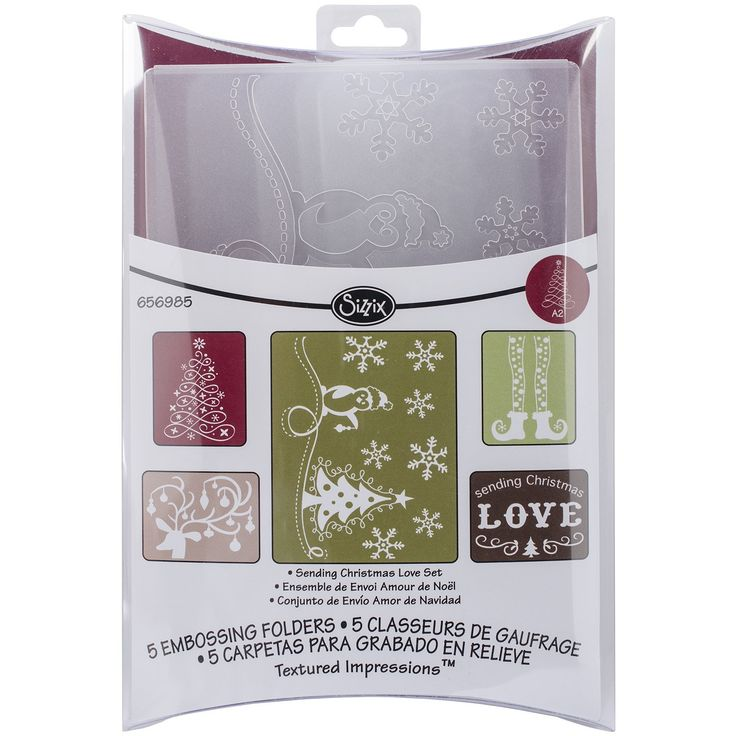 Amazon.com: Sizzix Textured Impressions Embossing Folders 5PK - Sending Christmas Love Set by Rachael Bright