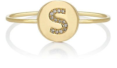 We Adore: The Mini Initial Disc Ring from Jennifer Meyer at Barneys New York