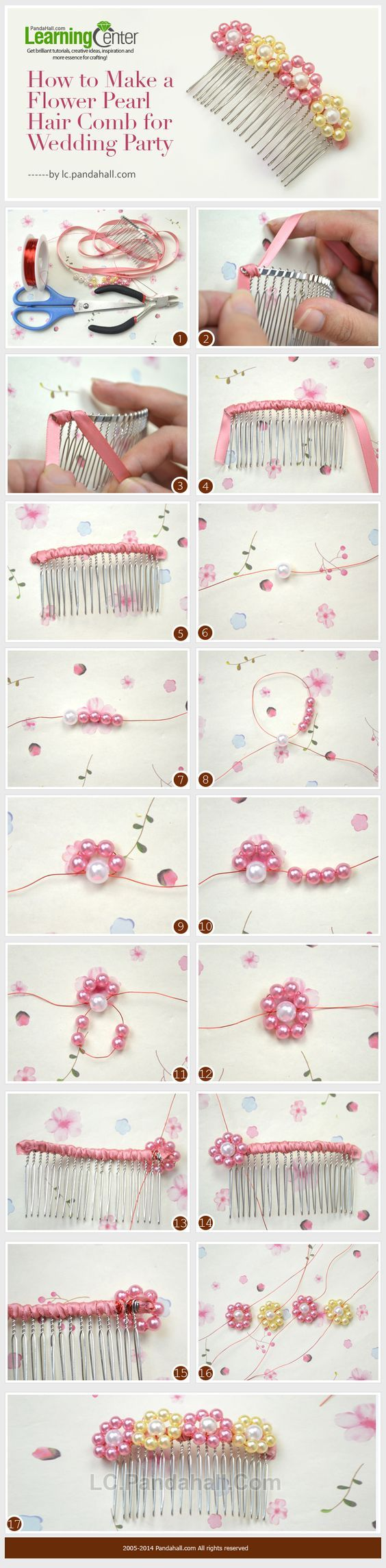 How to Make a Flower Pearl Hair Comb for Wedding Party: