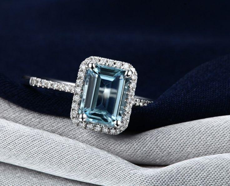 Designer 2.50 Carat Topaz and Diamond Engagement Ring in Halo Setting