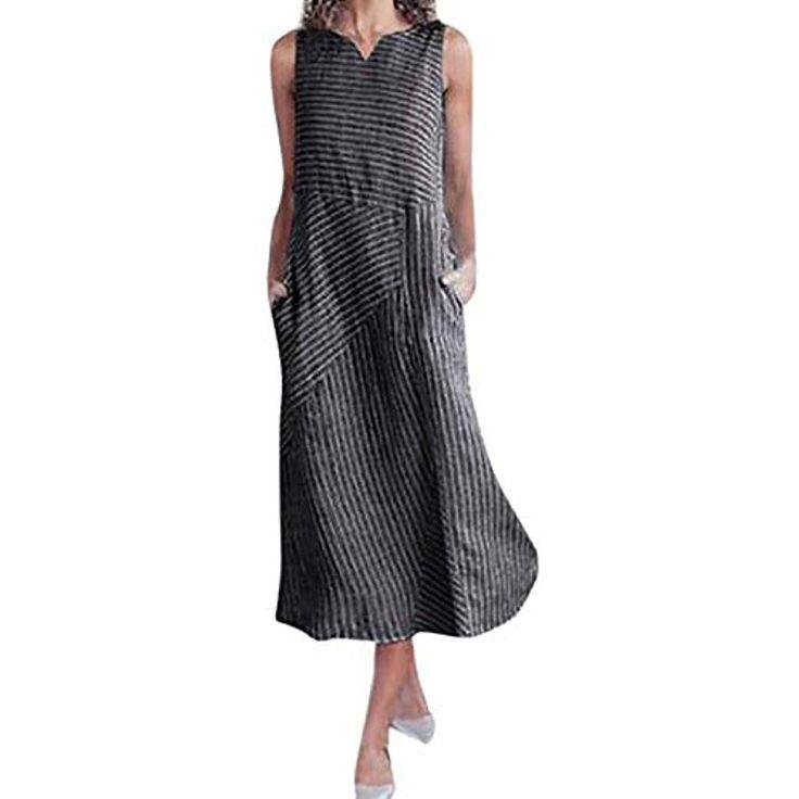 fatcatn Damen Kleid Retro Unregelmäßige Streifen Damen Beiläufige Lose Kleid …
