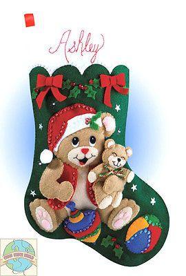Fieltro Bordados Kit ~ Design Works Playful Osos Christmas Stocking #dw 5046
