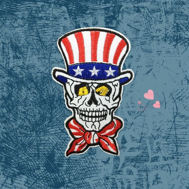 Uncle Sam Skull Patches iron on patches Iron-on Badge Tattoo Embroidery patches
