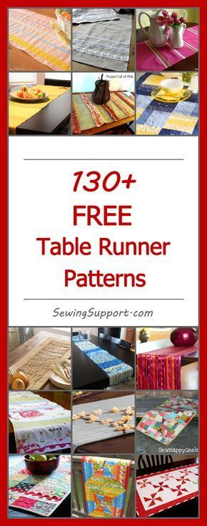 Lots of free table runner patterns. DIY, simple & easy tutorials and projects, table runner ideas, sewing for the home.