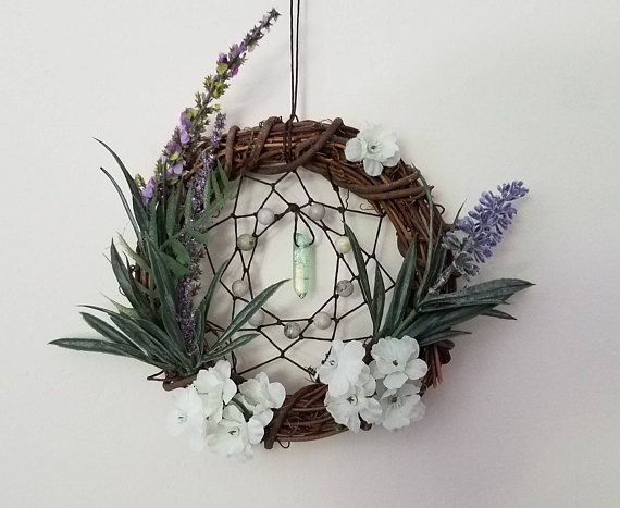 Flowers and Crystals Dream Catcher Wall Hang Natural Jasper