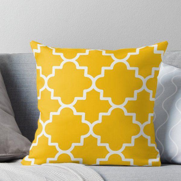 Quatrefoil 1 Hot Yellow And White Throw Pillow By Slanapotam