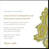 paisley detail wedding invitation