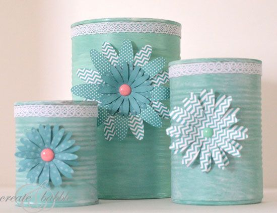"What a pretty craft to turn #recycled cans into utensil holders. From @Mariel @ ""Or so she says..."""